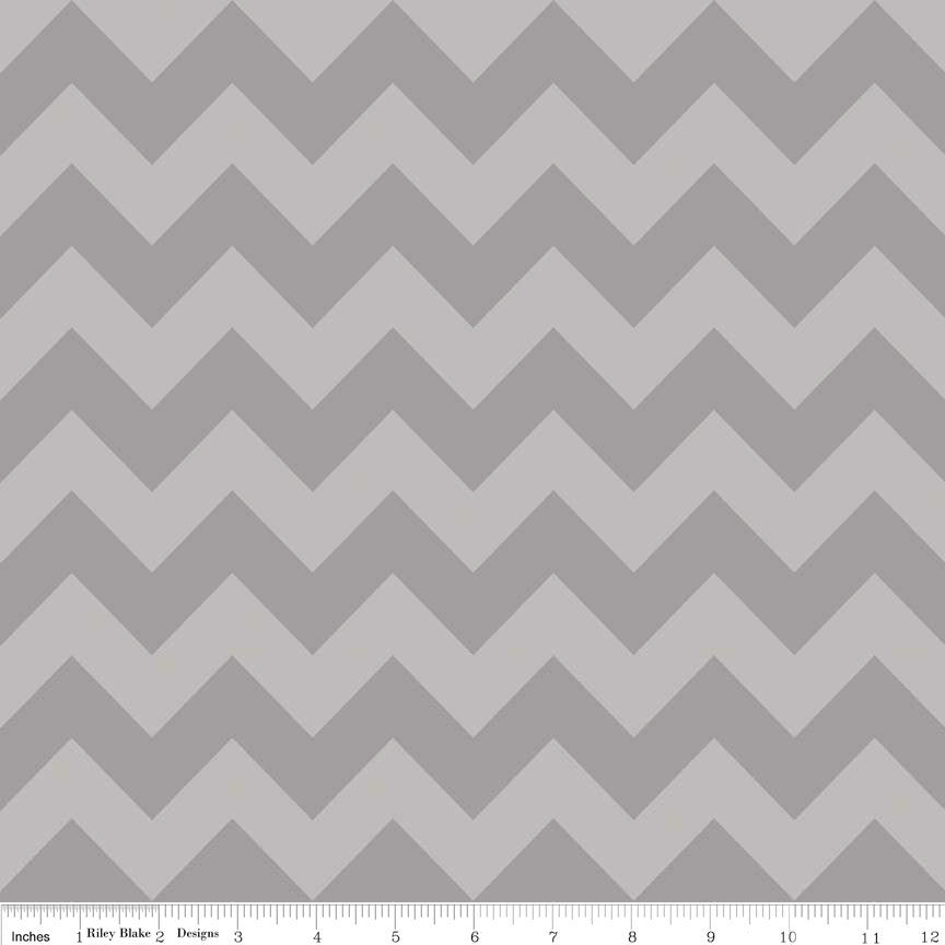 Gray Tone on Tone Medium Chevron by Riley Blake Designs - Quilting Cotton Fabric