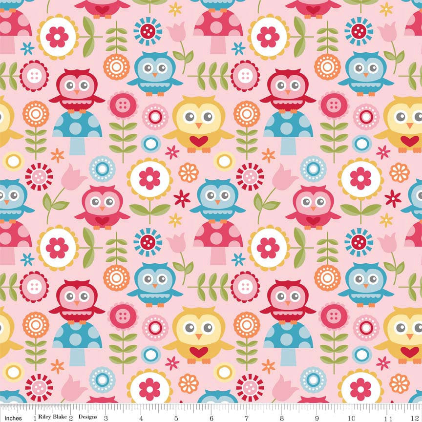 Fine and Dandy Main Pink by Riley Blake Designs - Owls Mushroom - Quilting Cotton Fabric
