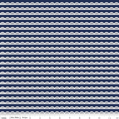 SALE Idle Wild Lace Blue by Riley Blake Designs - Navy Stripe - Jersey KNIT cotton lycra spandex stretch fabric