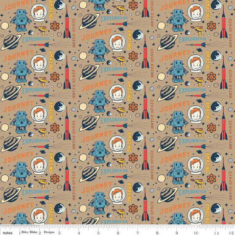 "CLEARANCE Rocket Age Captain Brown by Riley Blake Designs - Space Astronaut - Cotton FLANNEL Fabric - 27"" end of bolt"