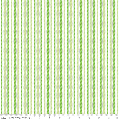 "Home for the Holidays Green Stripe by Riley Blake Designs - Cotton FLANNEL Fabric - 34"" end of bolt"