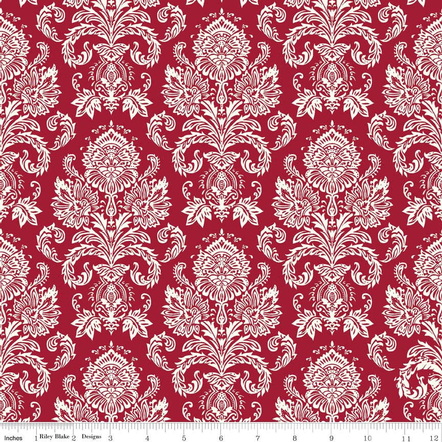 SALE Postcards for Santa Damask Red by Riley Blake Designs - Christmas Cream - Quilting Cotton Fabric - fat quarter