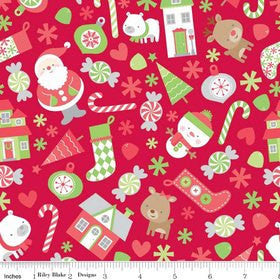 "Christmas Holidays Main Red - Riley Blake Designs - Santa - Jersey KNIT cotton lycra stretch fabric - 14"" end of bolt"