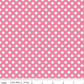 SALE Hot Pink Small White Dots by Riley Blake Designs - Polka Dots - Quilting Cotton Fabric