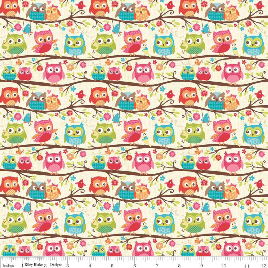 Happy Flappers Owls Cream by Riley Blake Designs K4021 - Jersey KNIT cotton lycra spandex stretch fabric - choose your cut