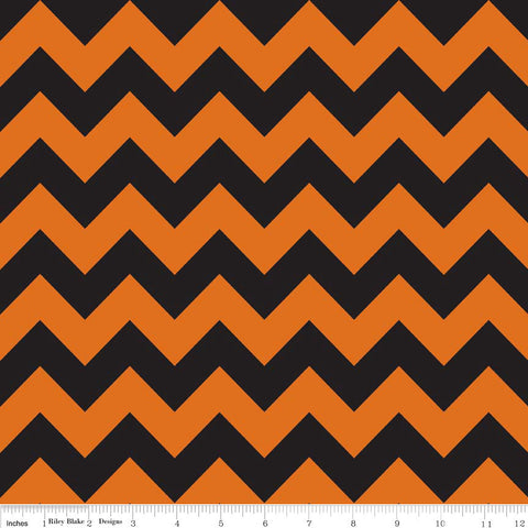 "CLEARANCE Orange and Black Medium Chevron for Riley Blake Designs - Halloween - Cotton Flannel Fabric - 1 Yard 7"" end of bolt"
