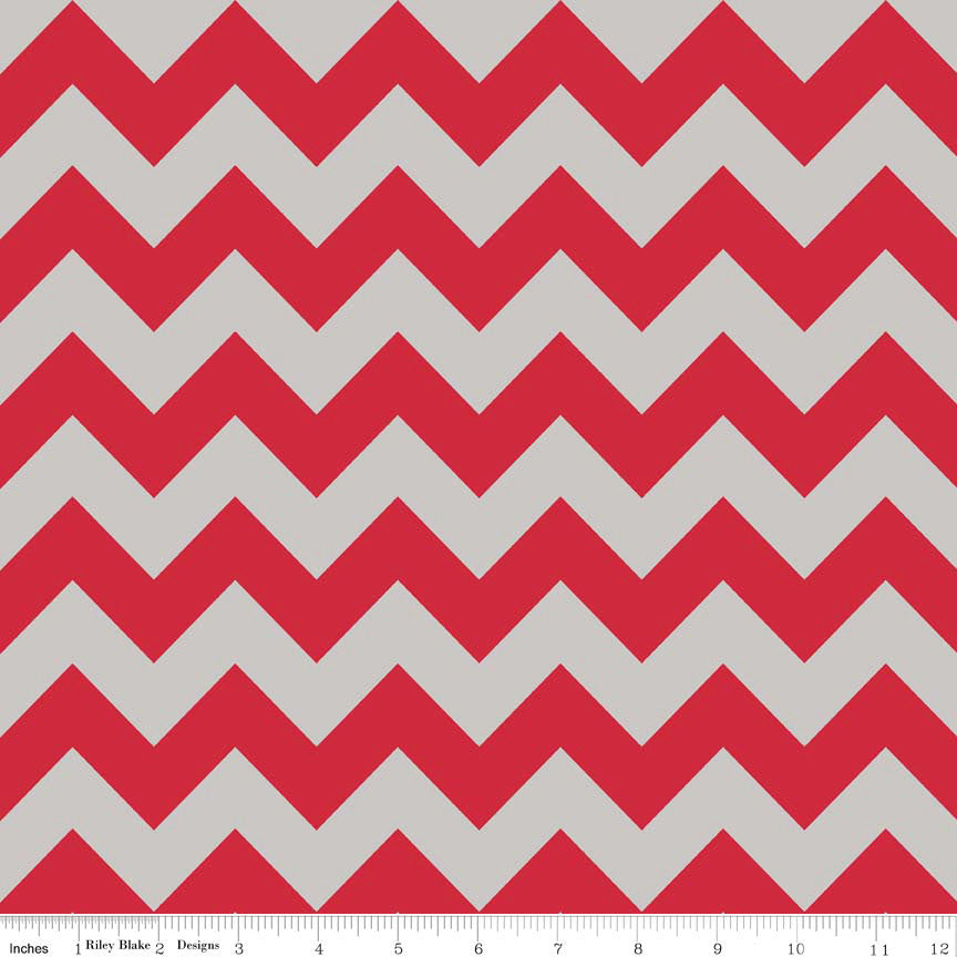 CLEARANCE Red Gray Medium Chevron for Riley Blake Designs - Cotton FLANNEL Fabric - by the yard