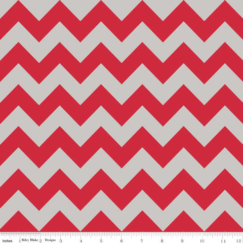 SALE Red Gray Medium Chevron for Riley Blake Designs - Cotton FLANNEL Fabric - choose your cut