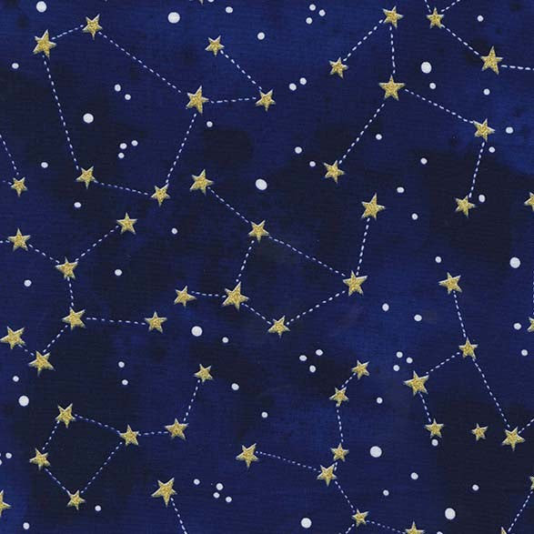 Constellation Midnight METALLIC by Michael Miller - Sky Stars Navy Blue Gold - Quilting Cotton Fabric