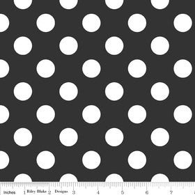 Black and White Medium Dots by Riley Blake Designs - Polka Dots - Quilting Cotton Fabric