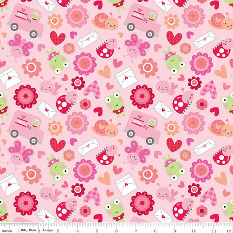 "SALE Lovebugs Collection Friends Pink by Riley Blake Designs - Hearts Valentine Frog - Quilting Cotton Fabric - 31"" end of bolt"
