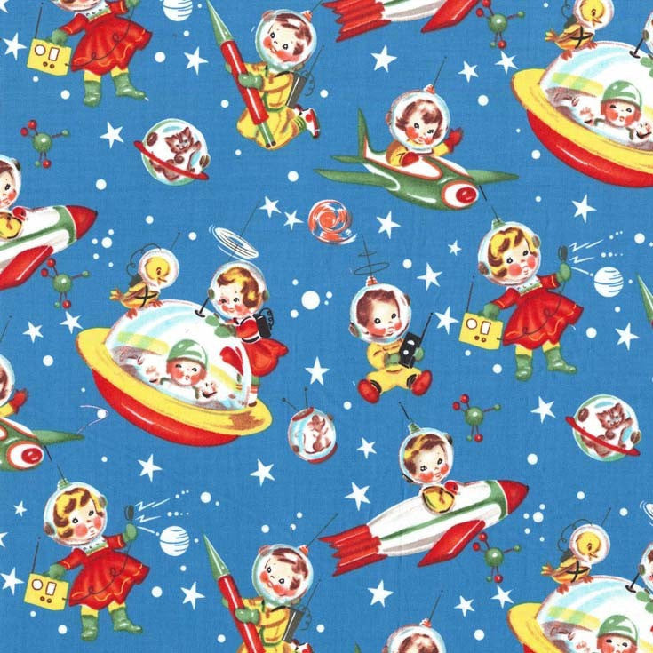 Retro Rocket Rascals Multi by Michael Miller - Space Stars Blue Sky - Quilting Cotton Fabric