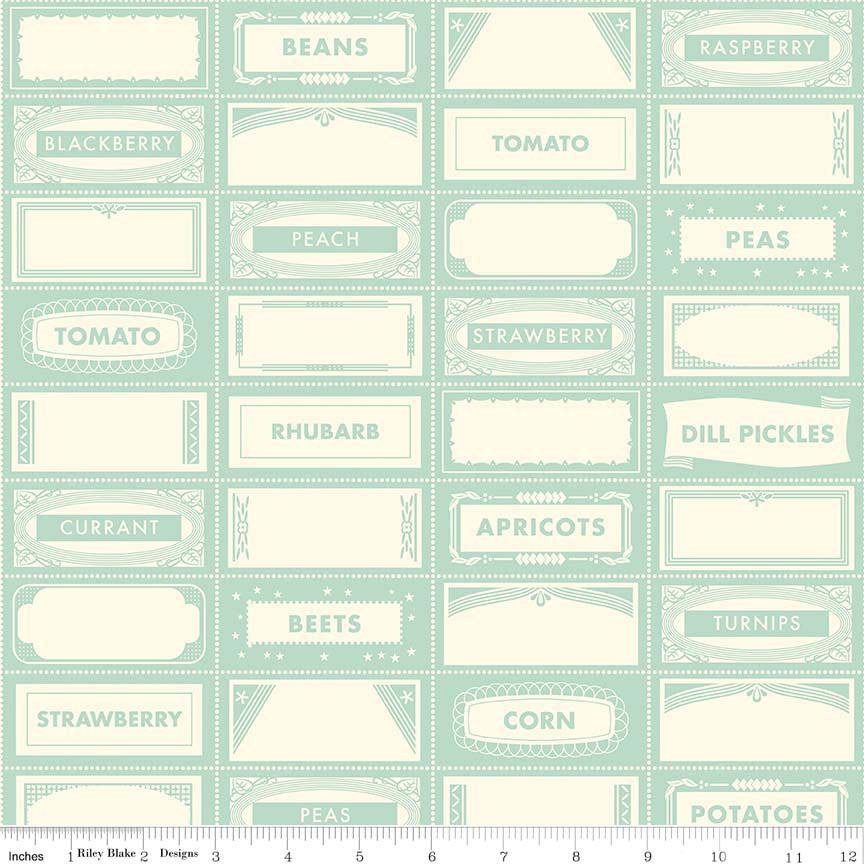 SALE Farm Girl Canning Labels Teal by Riley Blake Designs - Green Cream Food - Quilting Cotton Fabric - choose your cut