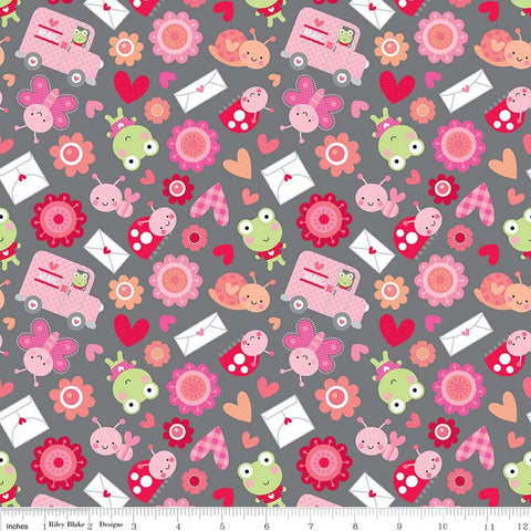 CLEARANCE Lovebugs Collection Friends Gray - Riley Blake Designs - Valentine Hearts Pink - Quilting Cotton Fabric - choose your cut