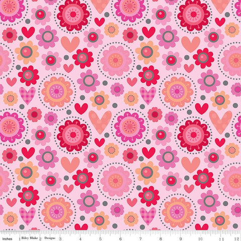 CLEARANCE Lovebugs Collection Main Pink by Riley Blake Designs - Valentine Hearts Floral - Quilting Cotton Fabric - by the yard