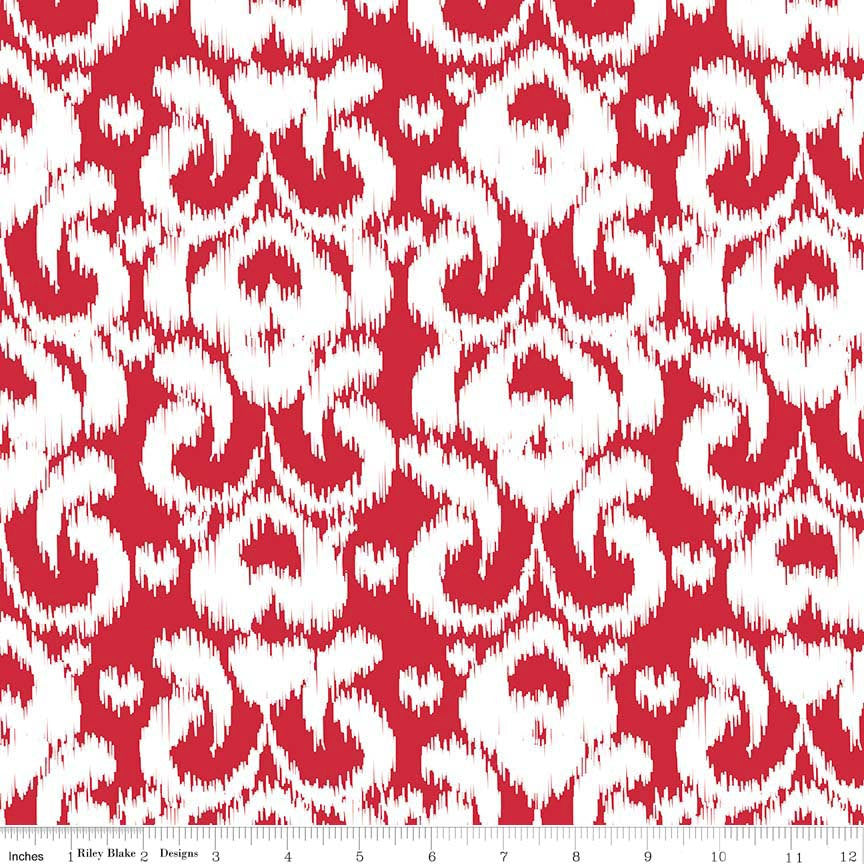 SALE Ikat Red by Riley Blake Designs - red and white damask - Jersey KNIT cotton lycra spandex stretch fabric - choose your cut