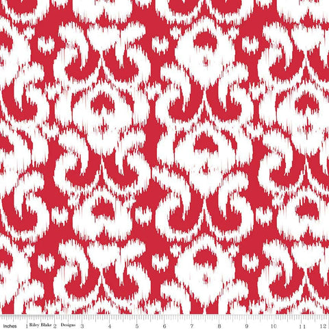 CLEARANCE Ikat Red by Riley Blake Designs - red and white damask - Jersey KNIT cotton lycra spandex stretch fabric - by the yard