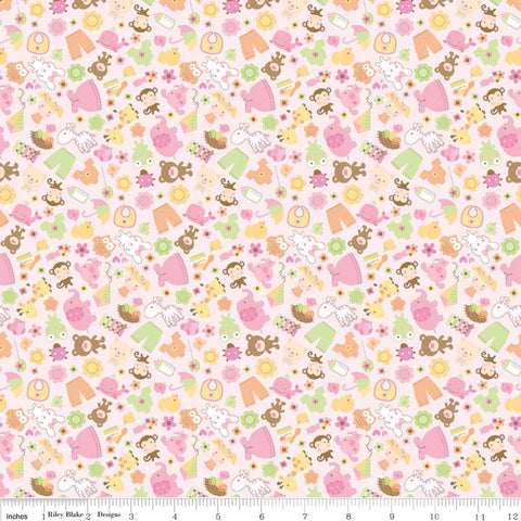 CLEARANCE Sweet Baby Girl Friends Pink - Riley Blake Designs - Bunny Teddy Bear Dress - Cotton FLANNEL fabric - choose your cut
