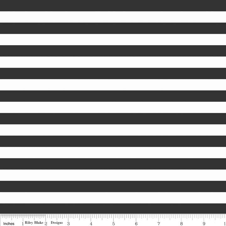 "Black and White 1/2"" Half Inch Stripe by Riley Blake Designs - Jersey KNIT cotton lycra stretch fabric - choose your cut"