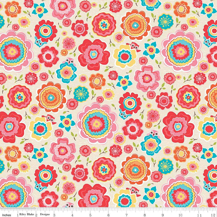 Tree Party Floral Cream by Riley Blake Designs - Owls Flowers - Jersey KNIT cotton & spandex stretch fabric - choose your cut