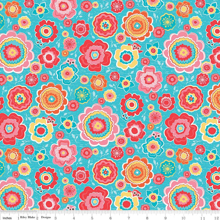 CLEARANCE Tree Party Floral Blue by Riley Blake Designs - Owls Flowers- Jersey KNIT cotton lycra spandex stretch fabric - by the yard