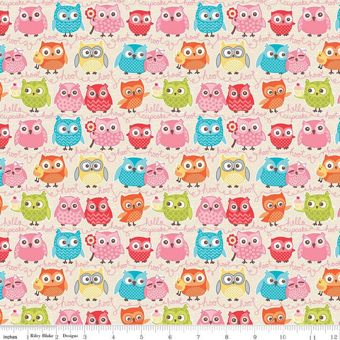 SALE Tree Party Owls Cream by Riley Blake Designs - Birds Yellow - Jersey KNIT cotton lycra spandex stretch fabric