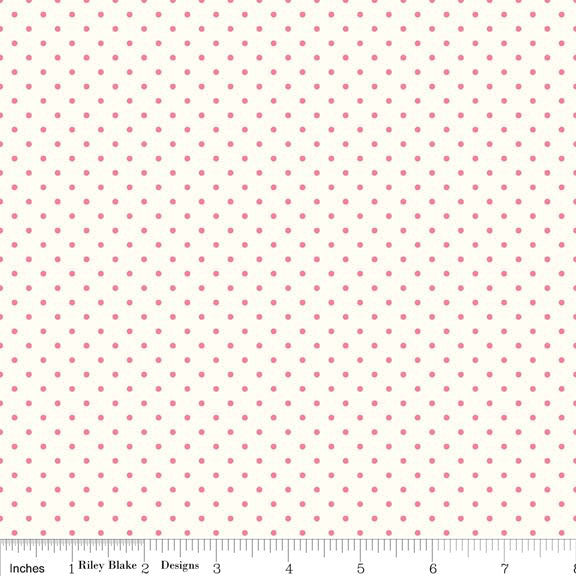SALE Hot Pink Swiss Dots on Cream Le Creme - Riley Blake Designs - Polka Dot - Quilting Cotton Fabric - choose your cut
