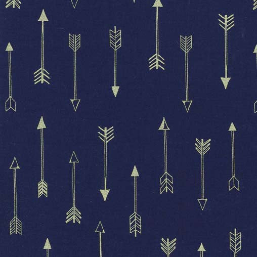 SALE Arrow Flight Arrows Midnight by Michael Miller - Navy Blue Metallic Gold - Quilting Cotton Fabric - choose your cut
