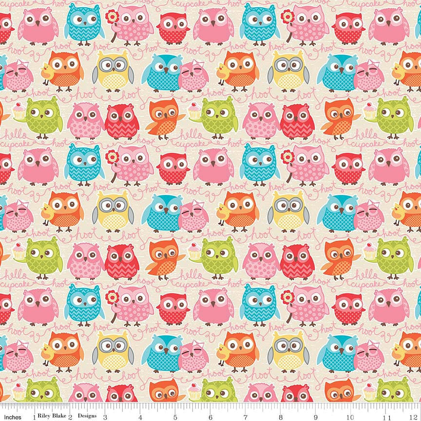 Tree Party Owls Cream by Riley Blake Designs - Birds Hoot Pink Yellow Green - Quilting Cotton Fabric by the yard fat quarter half