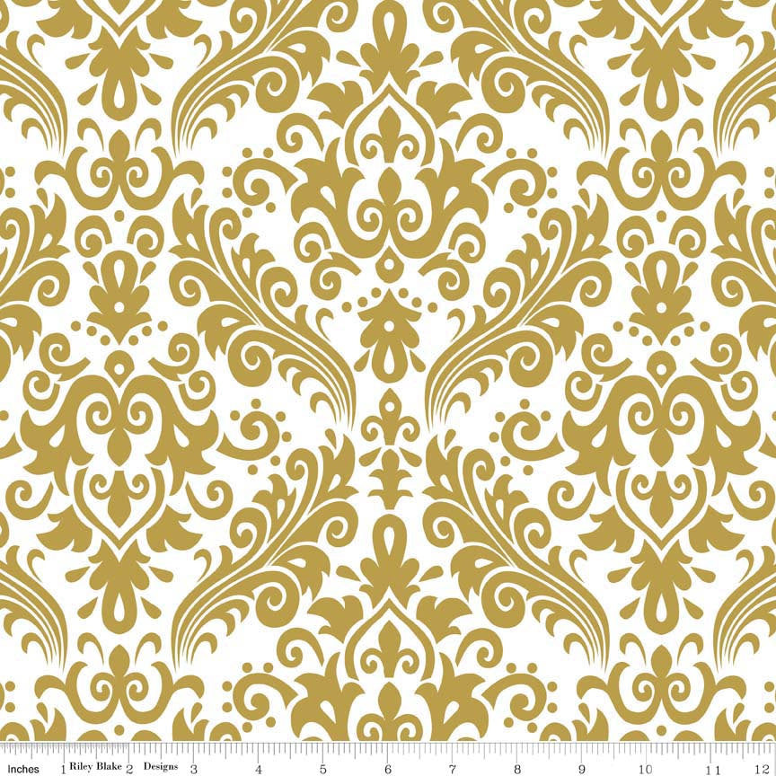 SALE Sparkle Gold Medium Damask on White Pearlized Metallic - Riley Blake Designs -  Quilting Cotton Fabric