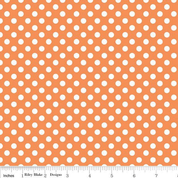Orange and White Small Polka Dot by Riley Blake Designs K350-60 - Jersey KNIT cotton stretch fabric