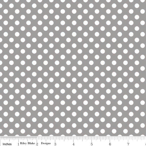 SALE Gray and White Small Polka Dots by Riley Blake Designs - Jersey KNIT cotton lycra stretch fabric - choose your cut