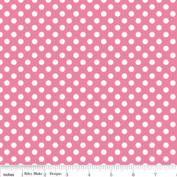 SALE Hot Pink and White Small Polka Dot - Riley Blake Designs - Jersey KNIT spandex cotton lycra stretch fabric