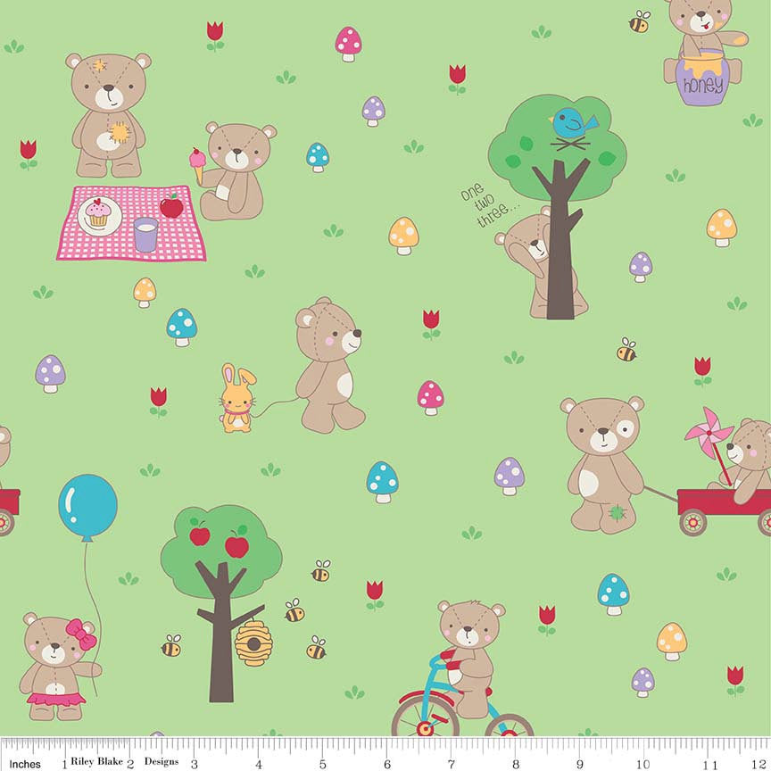 Teddy Bear Picnic Main Green - Riley Blake Designs - Bears Trees Bumble Bees - Cotton Woven Quilt Fabric