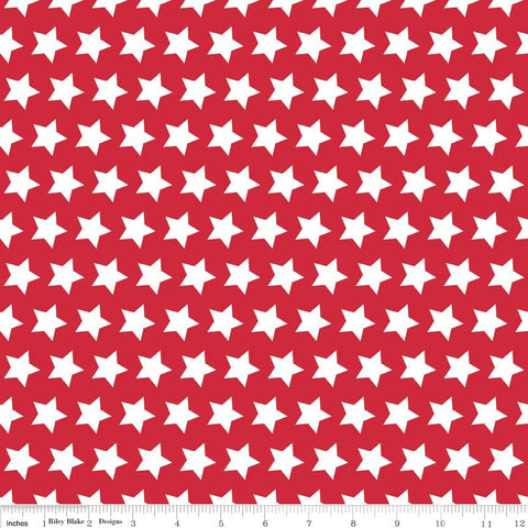 SALE Red Stars Basic by Riley Blake Designs - Red and White Patriotic - Quilting Cotton Fabric