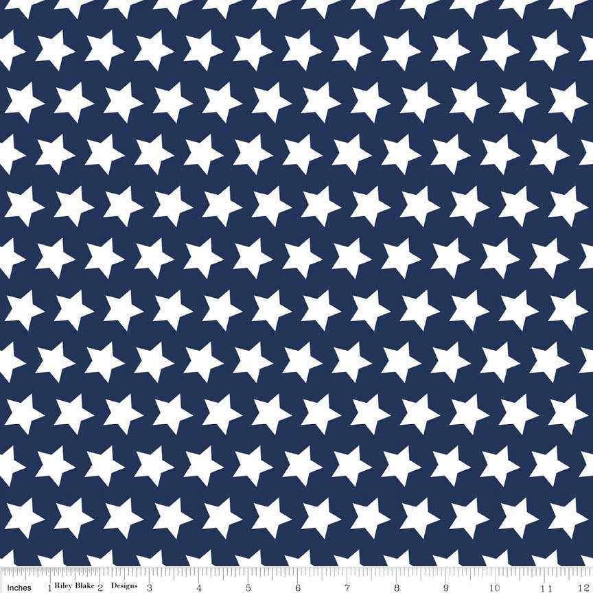 SALE Navy Stars Basic by Riley Blake Designs - Navy Blue Star White Patriotic - Quilting Cotton Fabric - choose your cut