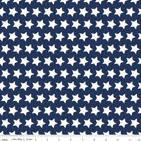 Navy Stars Basic by Riley Blake Designs - Navy Blue Star White Patriotic - Quilting Cotton Fabric