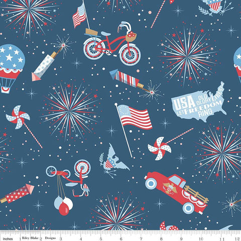 Parade on Main Main Navy by Riley Blake Designs - Patriotic USA Fireworks - Quilting Cotton Fabric - fat quarter