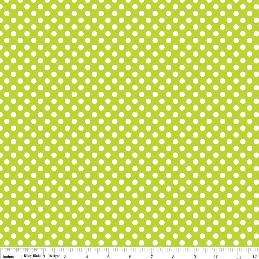 Lime Small White Dots by Riley Blake Designs - light green polka dots - Quilting Cotton Fabric - choose your cut
