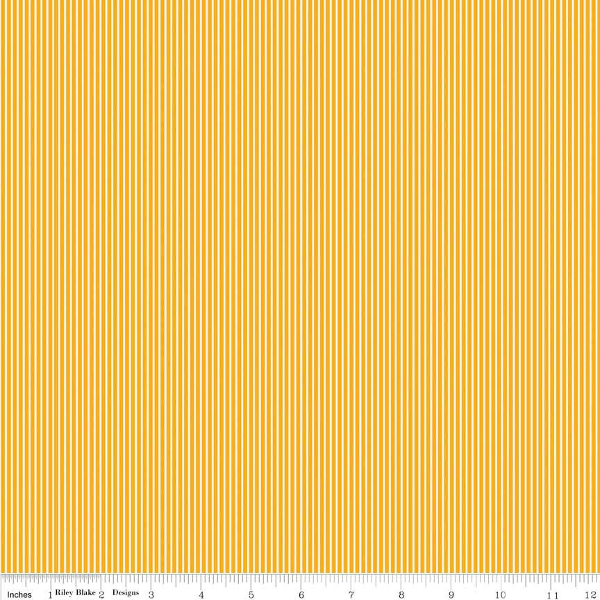 CLEARANCE Bloom and Bliss Stripe Yellow by Riley Blake Designs - Pin stripe - Quilting Cotton Fabric