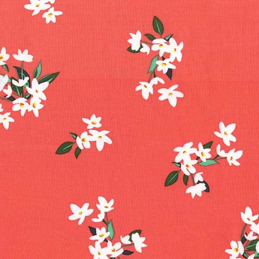 SALE Bed of Roses Lily of the Valley Coral by Michael Miller - Flowers Floral - Quilting Cotton Fabric