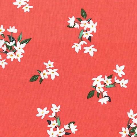 Bed of Roses Lily of the Valley Coral by Michael Miller - Flowers Floral - Quilting Cotton Fabric - choose your cut