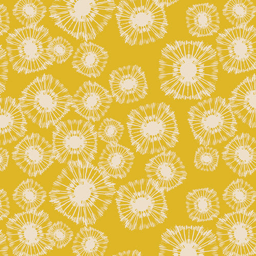 SALE Utopia Specks of Carambola by Art Gallery - Mustard Yellow Floral -  Jersey KNIT cotton lycra  stretch fabric - choose your cut