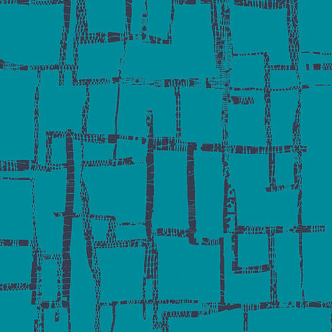 Imprint Maze Blues by Art Gallery - Geometric Turquoise Blue Black - Jersey KNIT cotton lycra stretch fabric - end of bolt pieces
