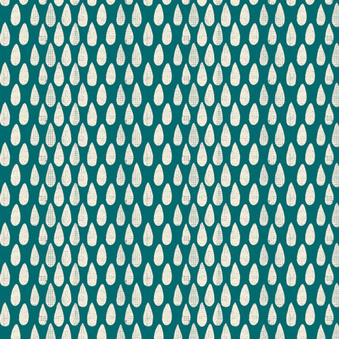 "Succulence Abundance Monsoon by Art Gallery - Teal Green Cream Drops - Jersey KNIT cotton stretch fabric - 1 yard 24"" end of bolt piece"