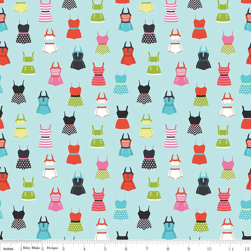 SALE Novelty Swimsuits Blue - Swimming Swim Bathing Suits - Riley Blake Designs - Cotton Woven Quilt Fabric