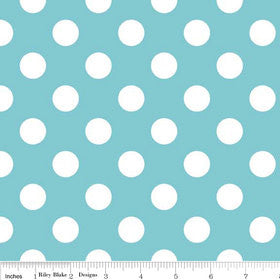 "SALE Aqua Medium Dots 3/4"" Three Quarter inch - Riley Blake Designs - White Polka Dots - Quilting Cotton Fabric"