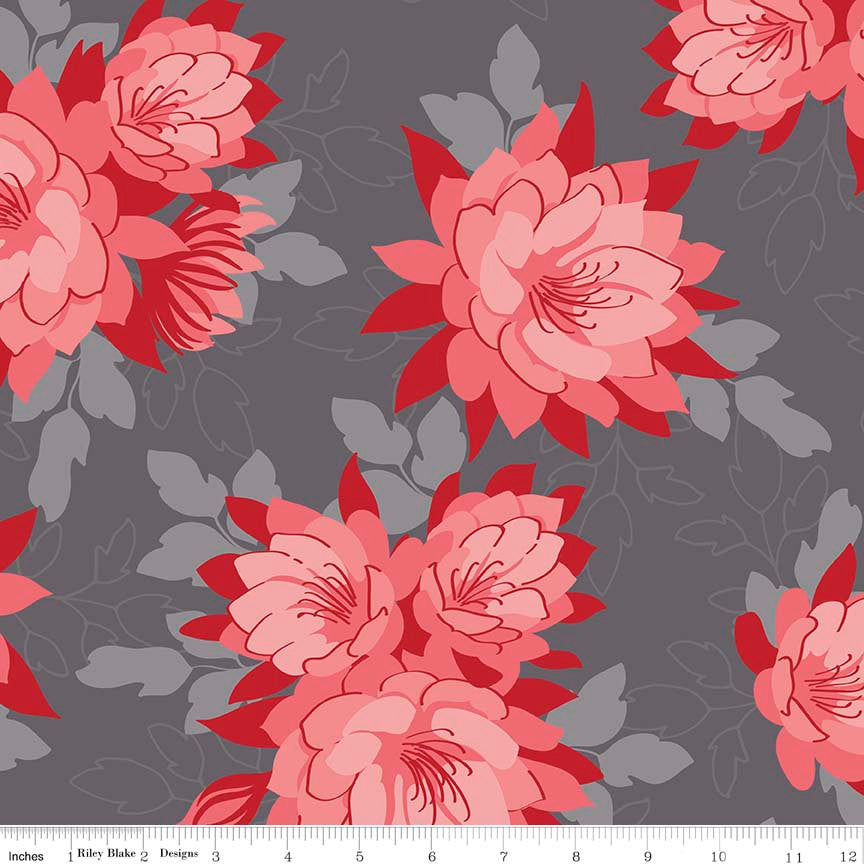 CLEARANCE Desert Bloom Main Gray by Riley Blake Designs - Floral Red Pink - Jersey KNIT cotton lycra stretch fabric - by the yard