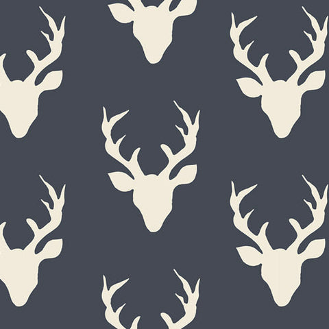 Hello Bear Buck Forest Twilight - Deer Head Navy Blue - Art Gallery - Jersey KNIT cotton lycra stretch fabric - choose your cut