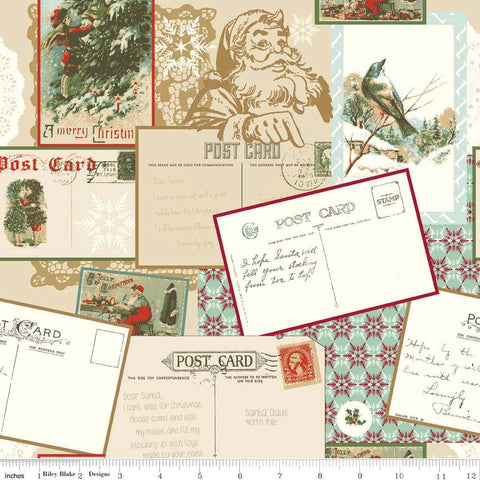 "SALE Postcards for Santa Main Gold SPARKLE by Riley Blake Designs - Christmas Metallic - Quilting Cotton Fabric - 15"" end of bolt piece"